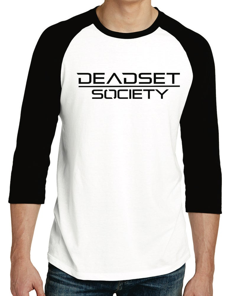 Image of <b>DEADSET SOCIETY </b><br>3/4 Sleeve Shirt (Men's)  White w/ Black Logo<br>