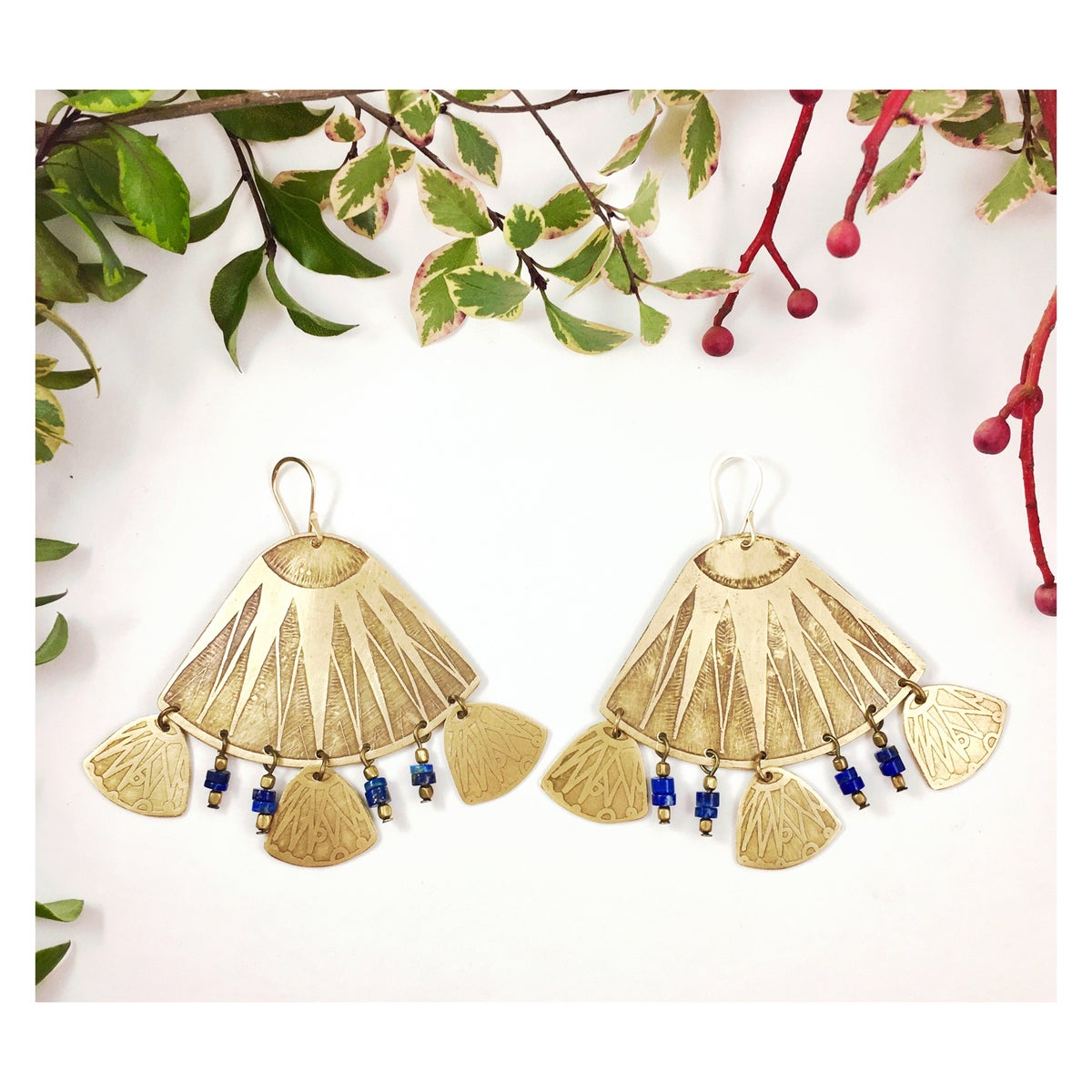 Image of Pattini Earrings with Lapis