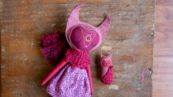 Image of Red Squirrely Mandala Doll