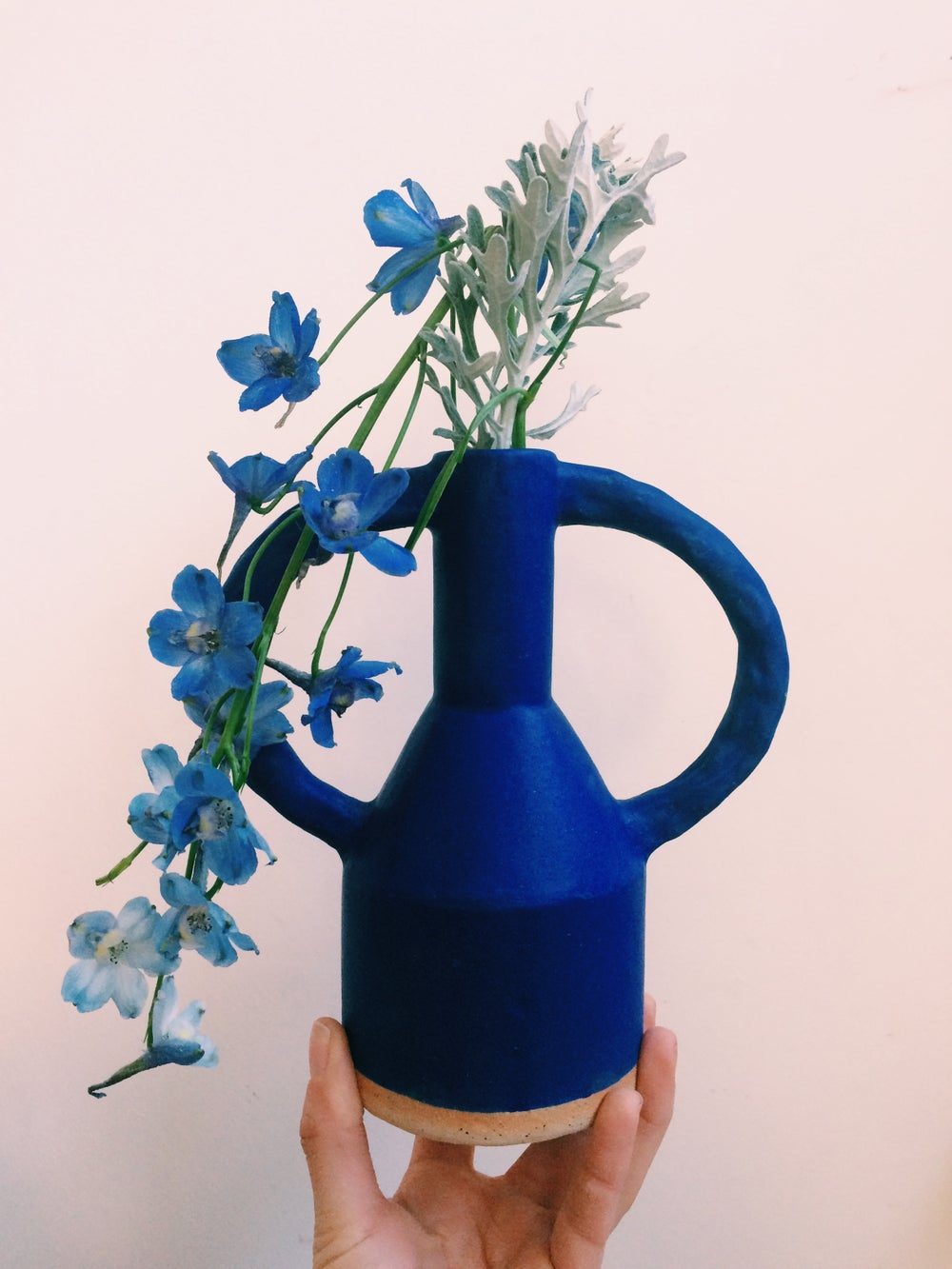 Image of Blue jug eared vase -Midi - preorder