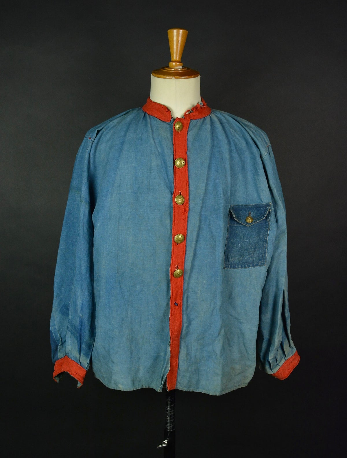 Image of 1850's FRENCH INDIGO LINEN FIREMAN SHIRT BIAUDE COAT