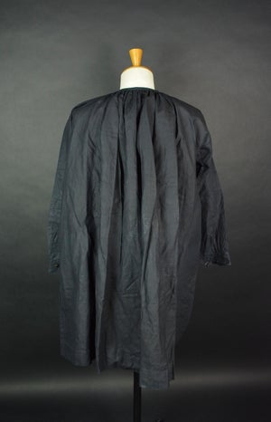 Image of 1900's FRENCH DEEP INDIGO LINEN SMOCK BIAUDE COAT
