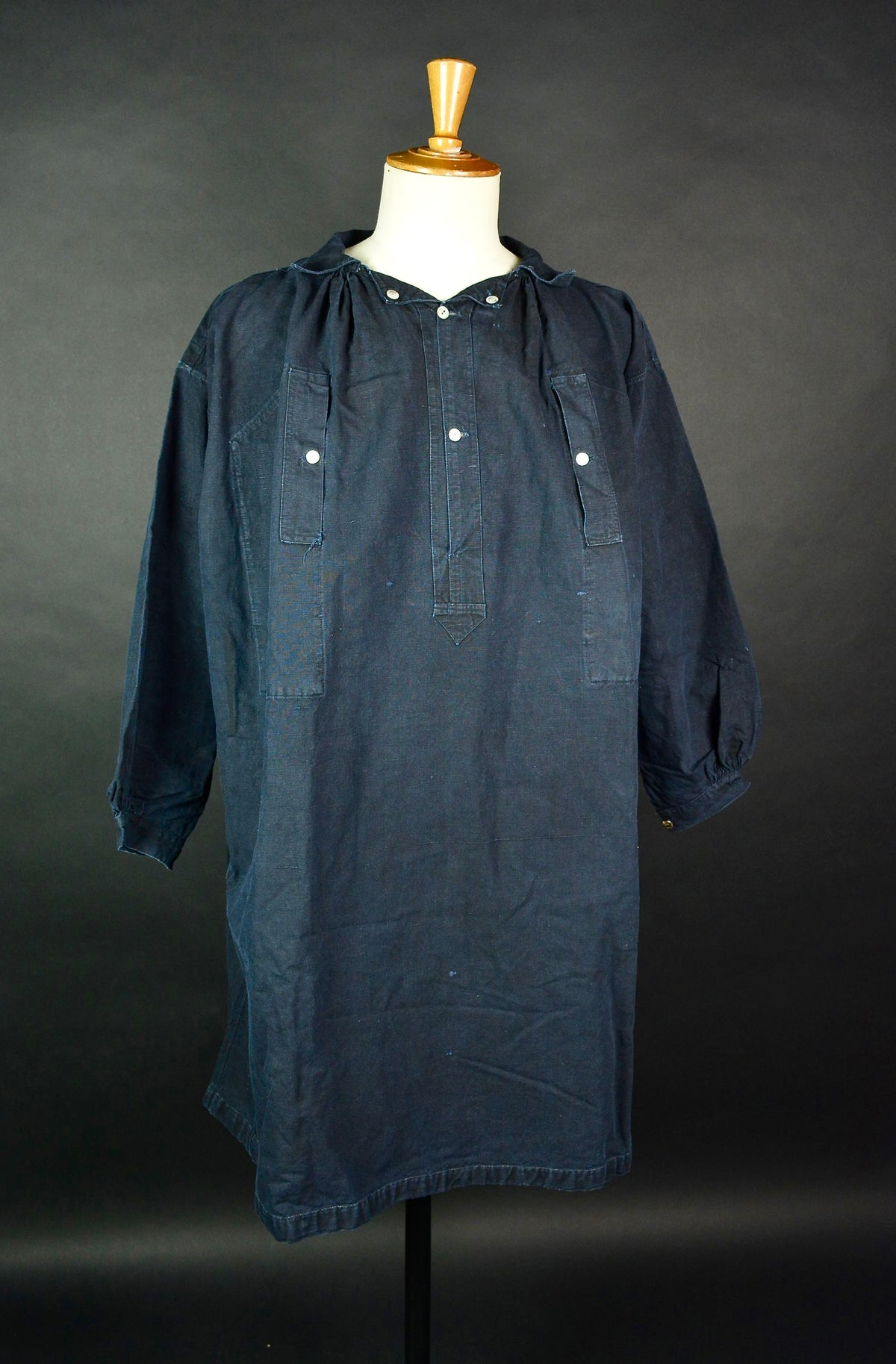 Image of 1900's FRENCH DEEP INDIGO LINEN SMOCK BIAUDE COAT MAQUIGNON