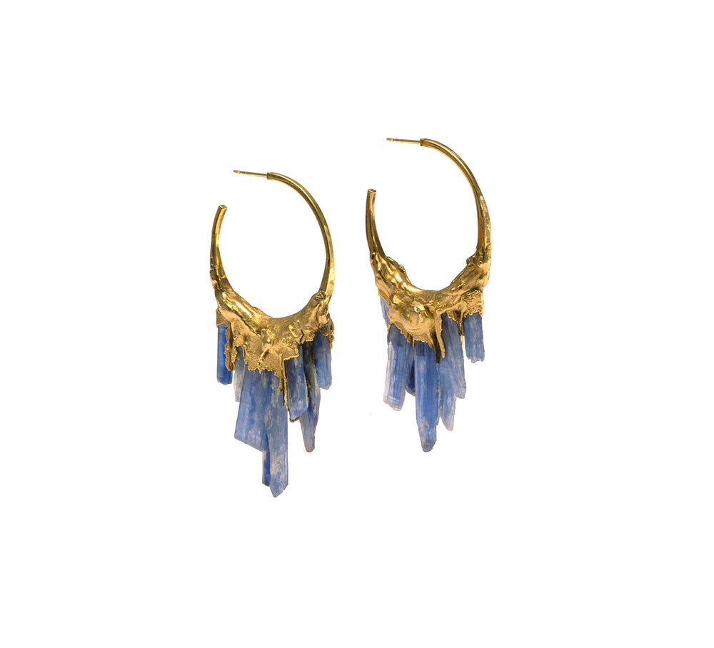 Image of Kyanite + Yellow Gold Vermeil Hoops