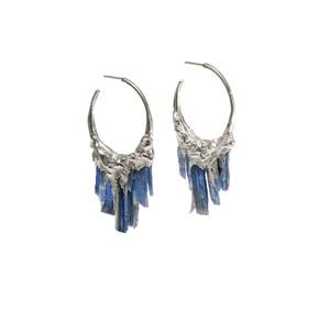 Image of Kyanite + Sterling Silver Hoops