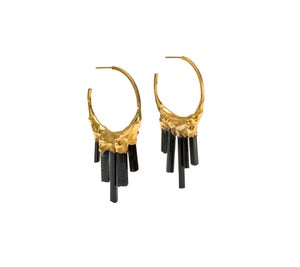 Image of Black Tourmaline + Yellow Gold Vermeil Hoops