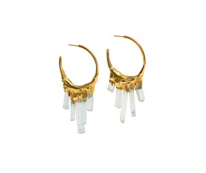 Image of Aquamarine + Yellow Gold Vermeil Hoops