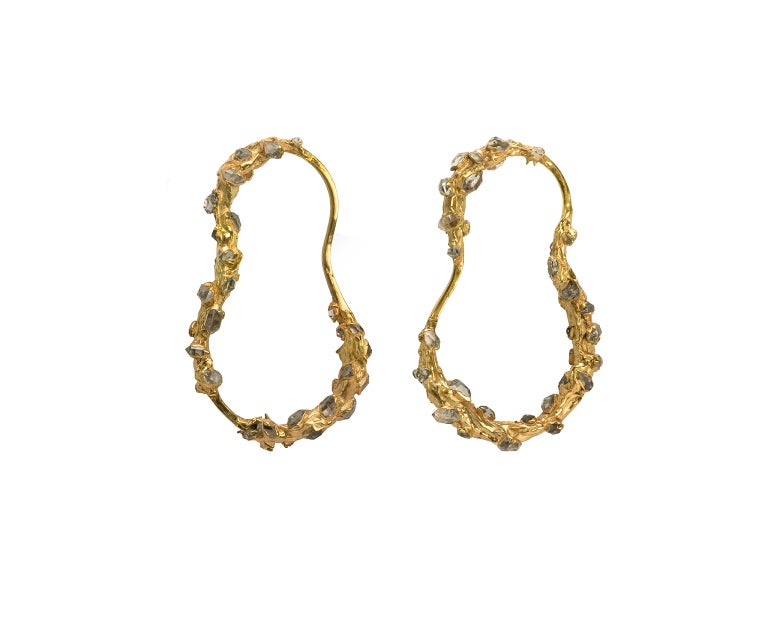 Image of Herkimer Diamond + Yellow Gold Vermeil Russian Doll Earrings