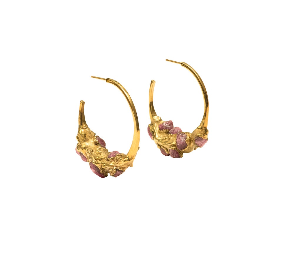 Image of Raw Ruby + Yellow Gold Vermeil Encrusted Hoops