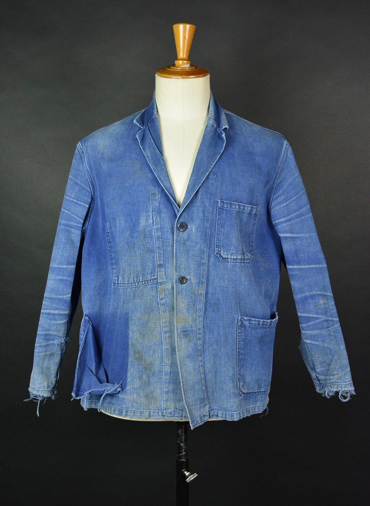 Image of 1940'S AMAZING FADE FRENCH BLUE WORK JACKET DISTESSED 1