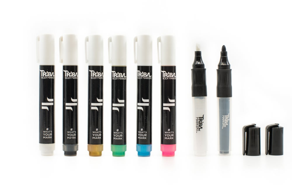 Image of Most Popular colors Gold, White, Black, Blue, Pink, Teal Plus a & Black Bullet/chisel tip