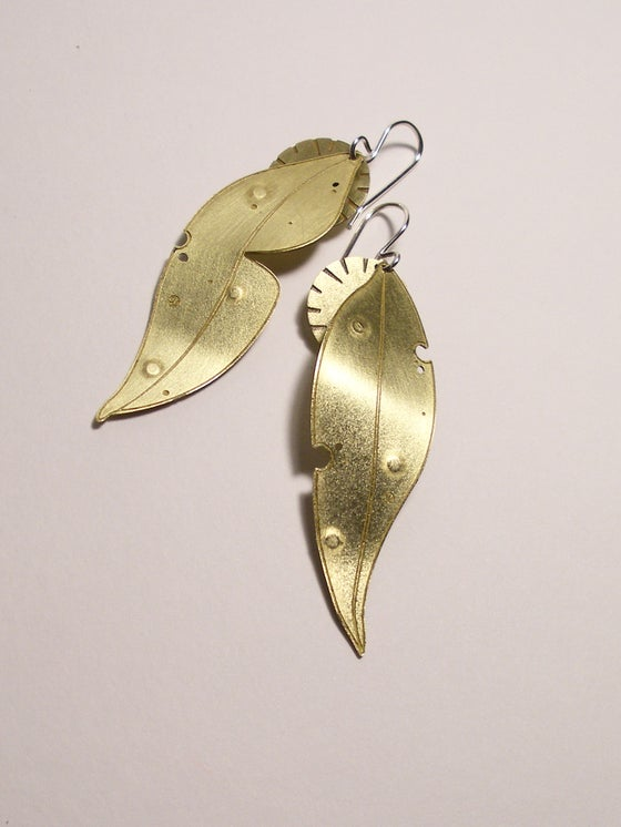 Image of LEAF EARRING: GUM LEAF LARGE + BLOOM (BRASS)
