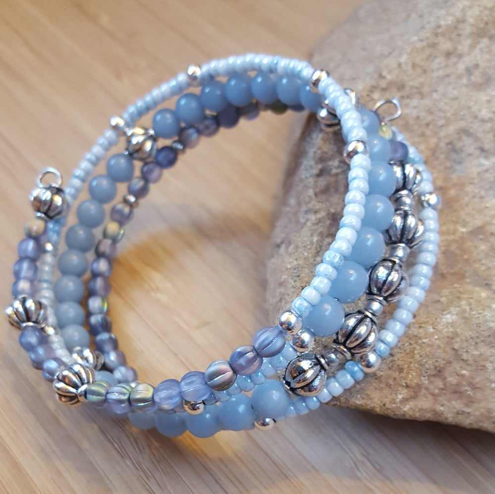 Image of Gemstone Stacking Wrap Bracelet in Light Blue