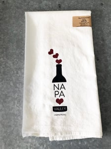 Image of Napa Strong Wine Bottle with Hearts Cotton Floursack Tea Towel