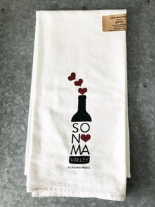 Image of Sonoma Strong Wine Bottle with Hearts Cotton Floursack Tea Towel