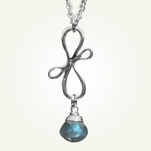 Image of Victorian Ribbon Mini Necklace with Labradorite, Sterling Silver