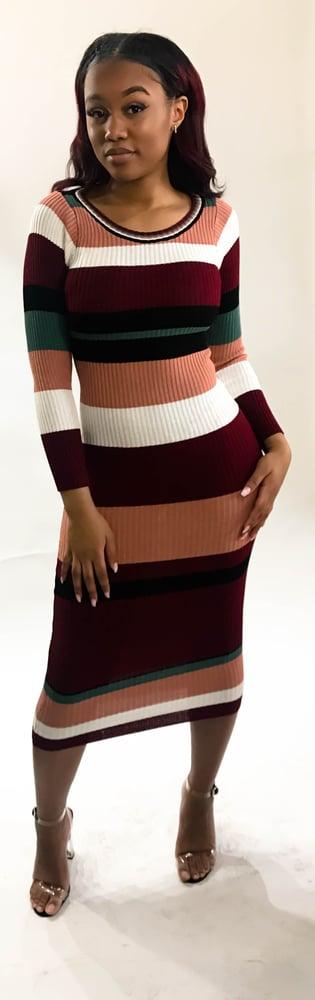 Image of Multi-striped sweater dress