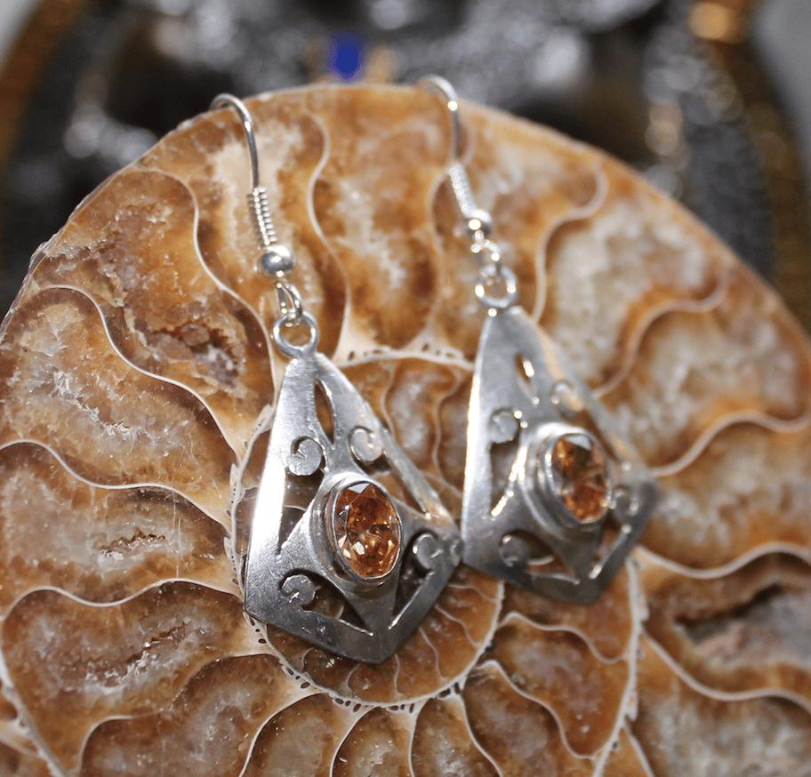 Image of Golden Topaz Sterling Silver Earrings