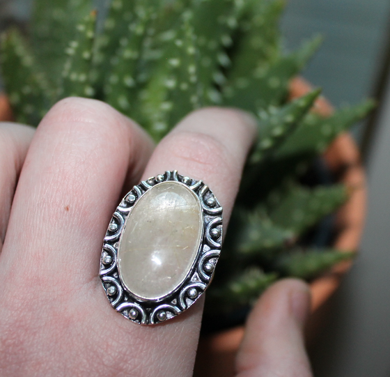 Image of Golden Rutilated Quartz Sterling Ring (8.5)