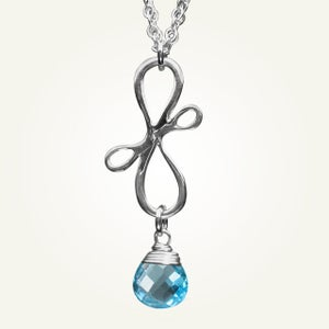 Image of Victorian Ribbon Mini Necklace with Swiss Blue Topaz, Sterling Silver