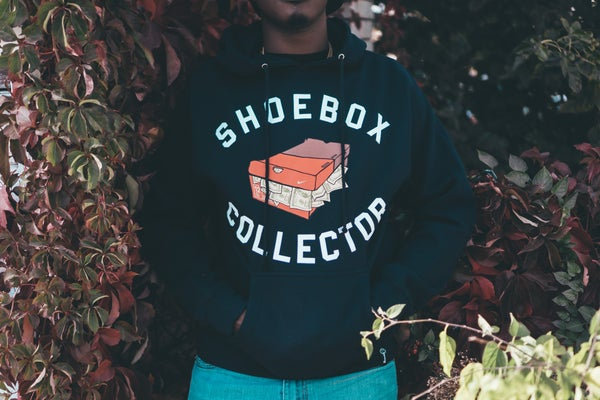 Image of SHOEBOX COLLECTOR HOODY (NAVY)