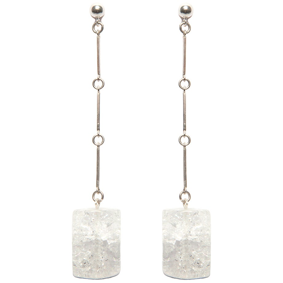 """Image of """" CODA"""" Large Quartz Crystal Sterling Silver Earrings"""