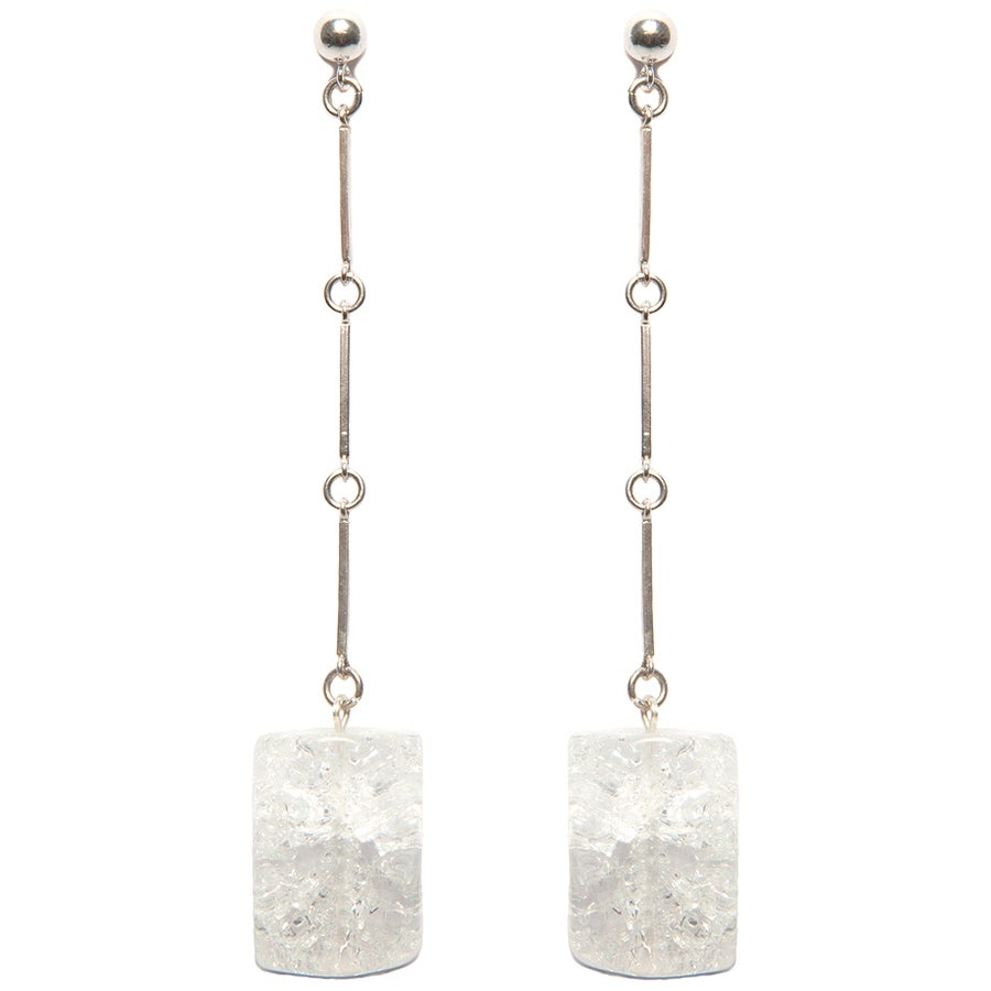 "Image of "" CODA"" Large Quartz Crystal Sterling Silver Earrings"