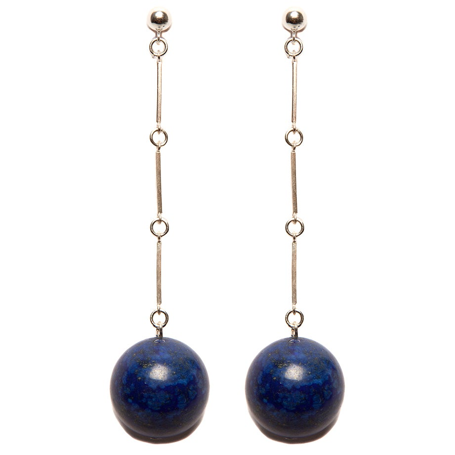"Image of ""CODA"" Large Lapis Lazuli Stone Sterling Silver Earrings"