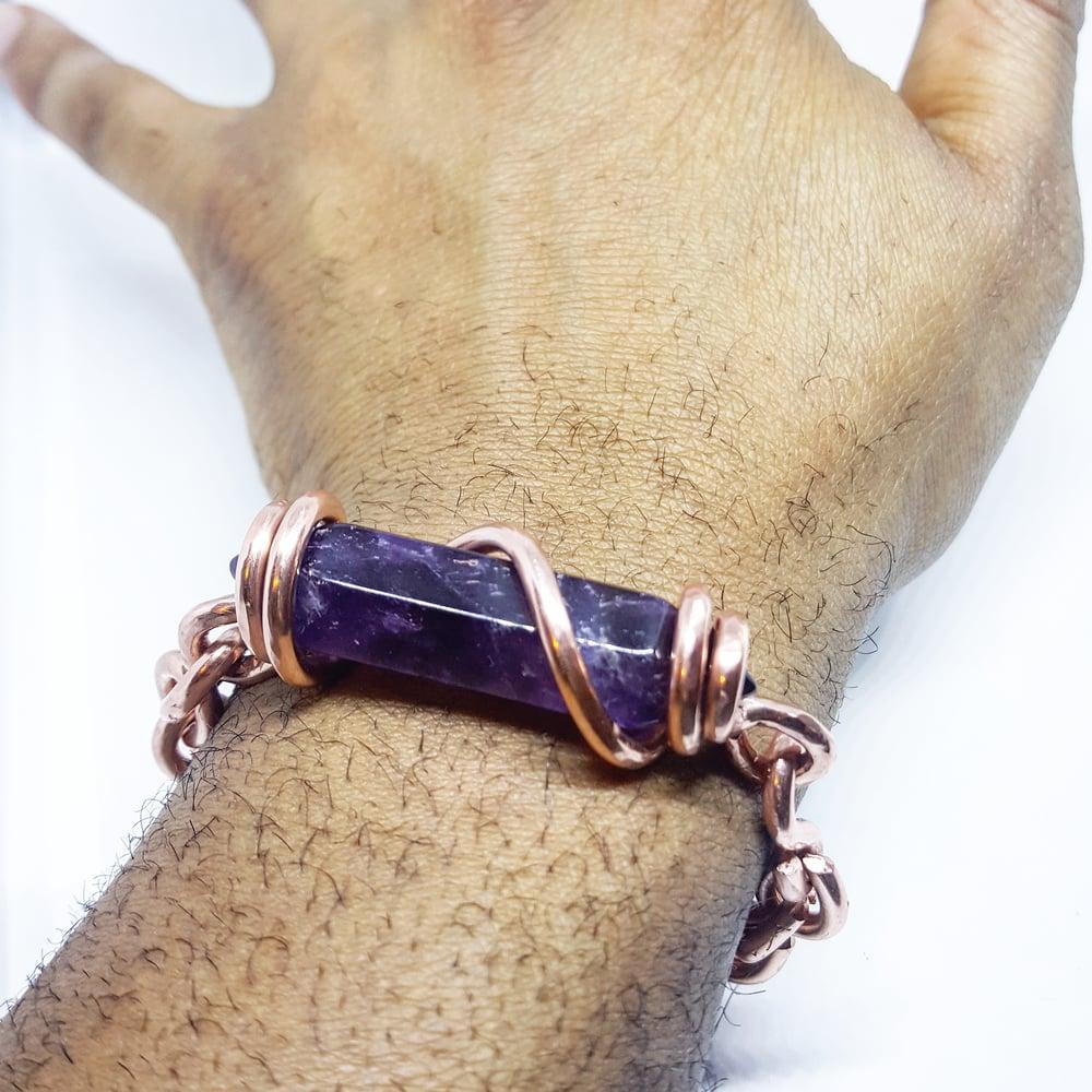 Image of Double Terminated Amethyst Set Crystal Bracelet