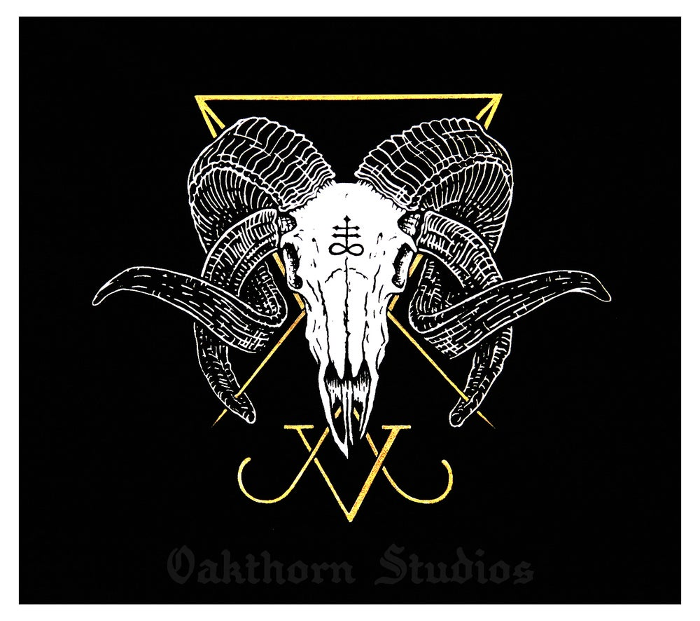 Image of Luciferian Ram Skull Back Patch