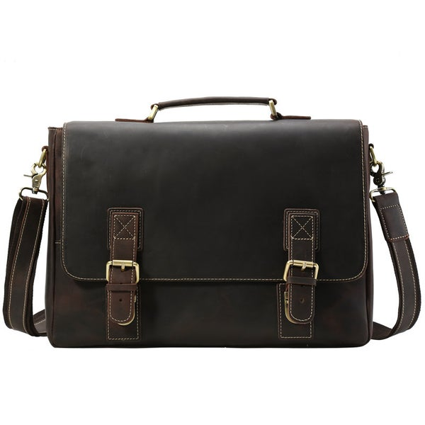 "Image of Men's Large Handmade Vintage Leather Briefcase / 15"" MacBook Pro 15"" 16"" Laptop Bag (n14L)"
