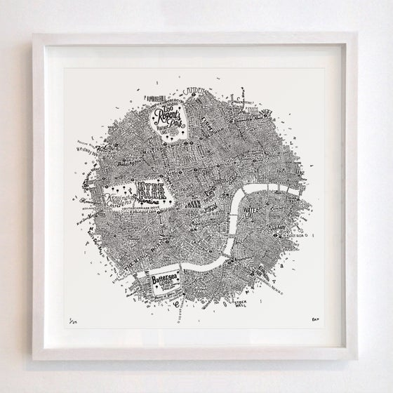 Image of Typographic Street Map Of Central London (White, 2016)