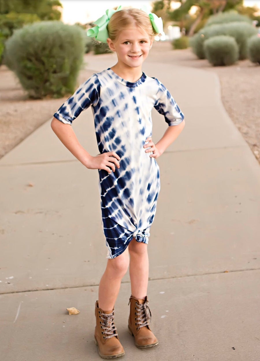 Image of Baby/Girls Navy Ble TyeDye Knot Knit Dress