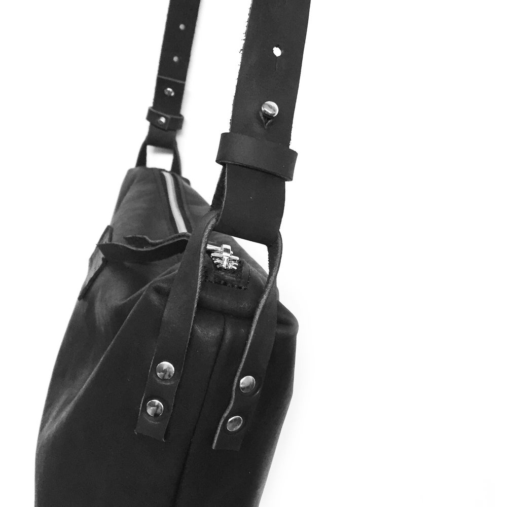 Image of Black Leather Crossbody Bag