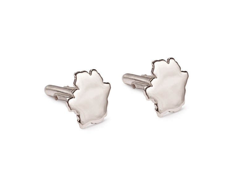 Image of Silver Crater Bar Cufflinks