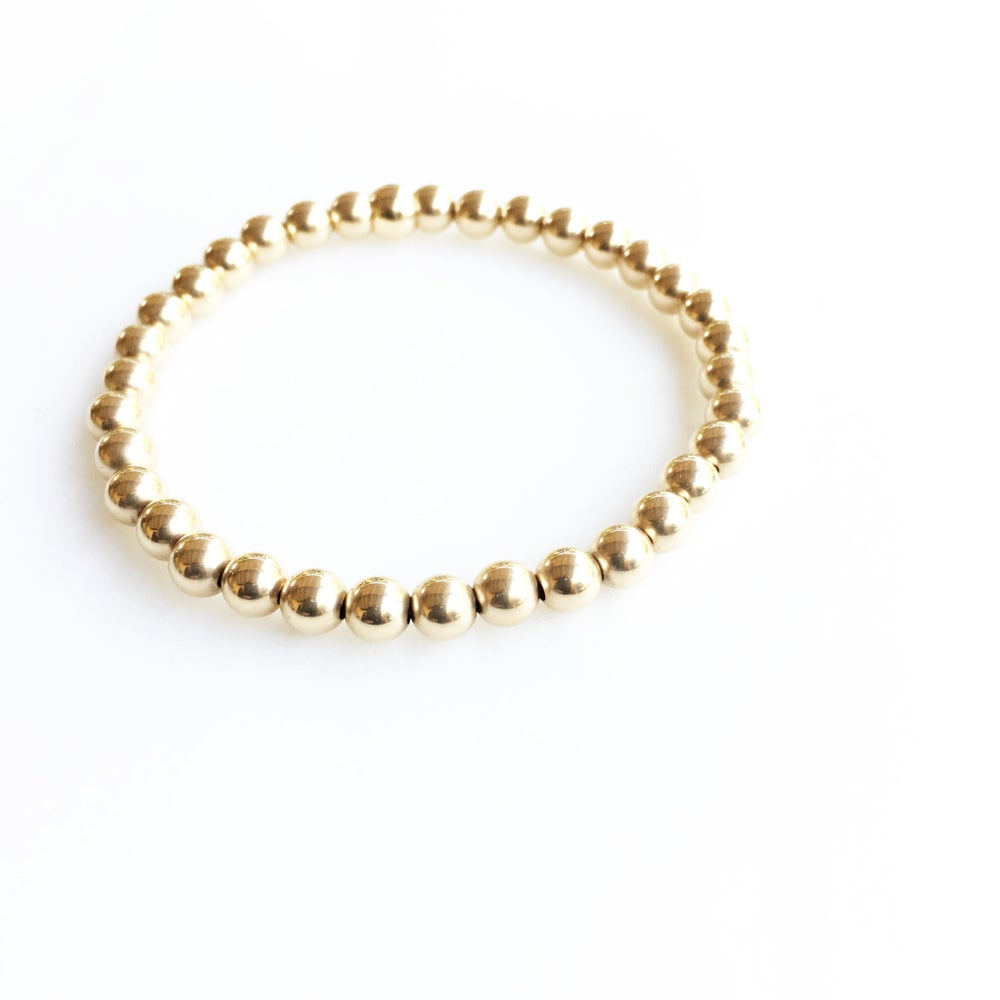 Image of TenThings. Medium. 5mm GOLD. Beaded. Bracelet. B-GLDBD5MM
