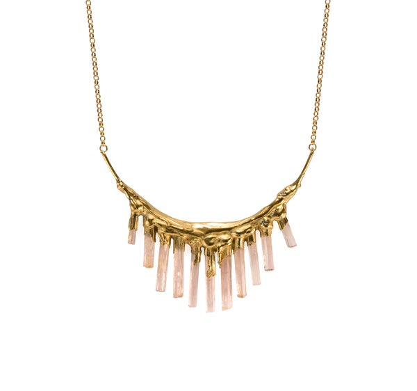 Image of Pink Tourmaline + Yellow Gold Vermeil Necklace
