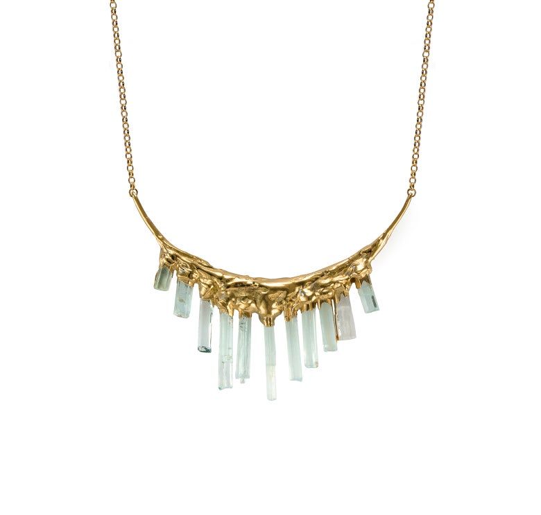 Image of Aquamarine + Yellow Gold Vermeil Necklace
