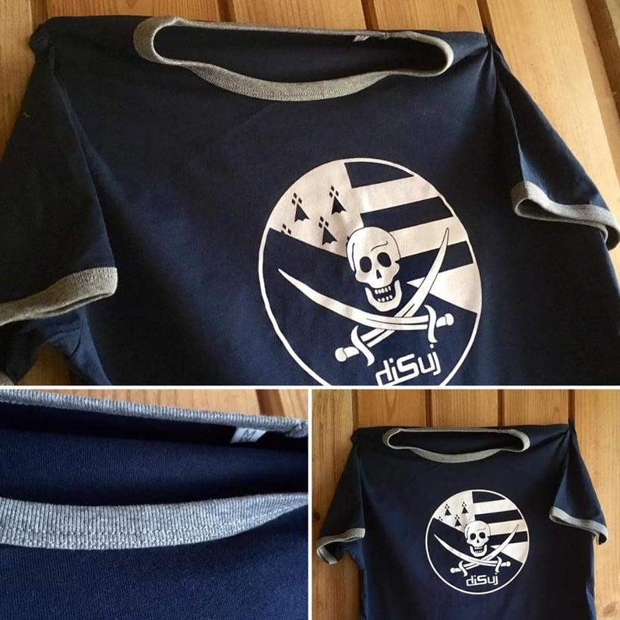 """Image of T-shirt """"Pirate Breton"""" homme bleu marine/gris Bio & Équitable — Série Limitée"""