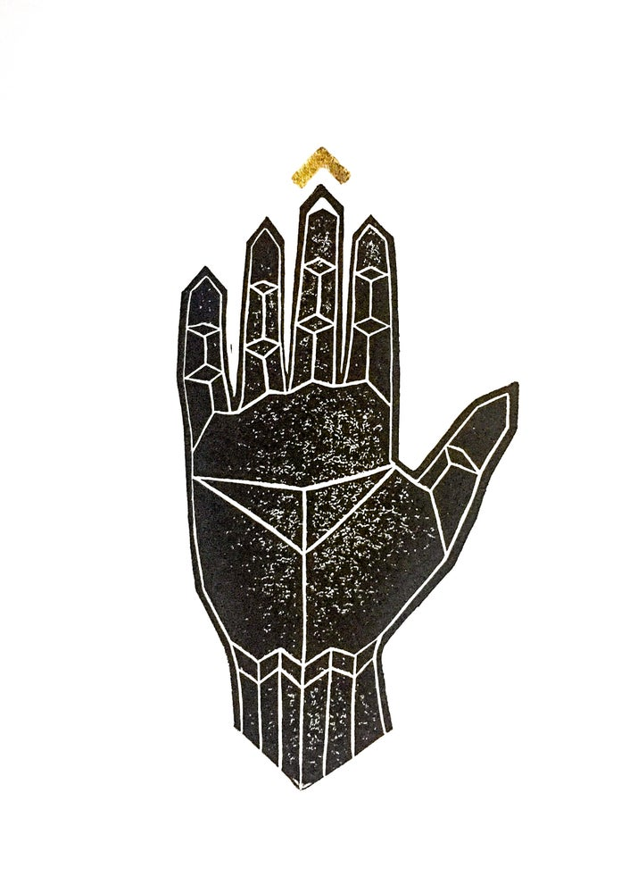 "Image of ""Golden Link"" - Original Linocut Print with Gold Leaf"