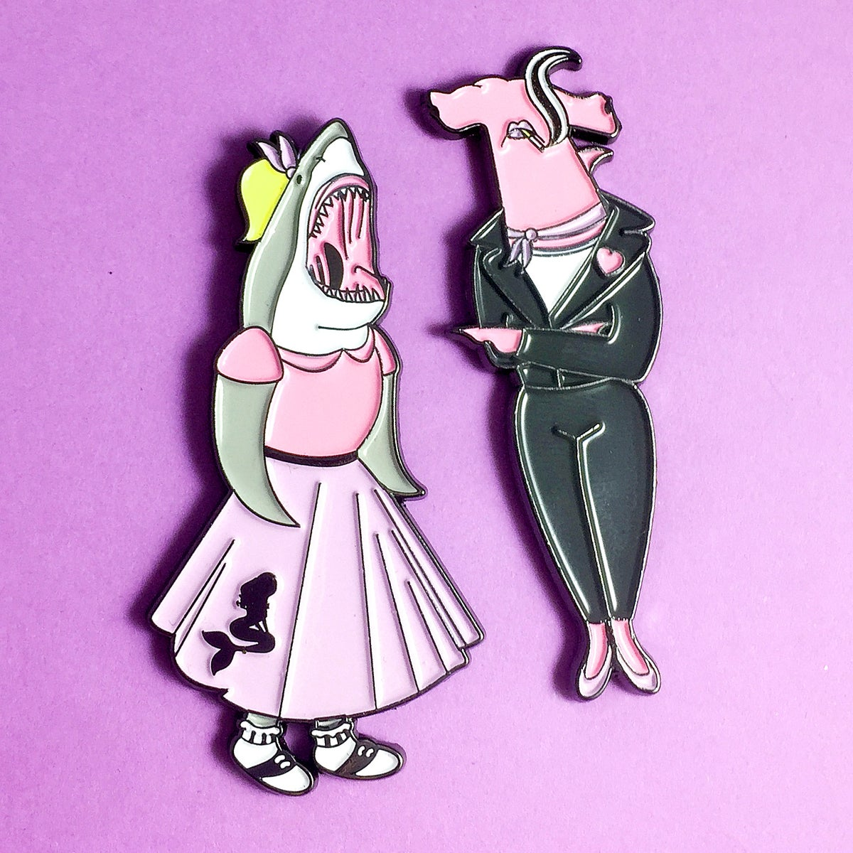 Image of Shark Babes Enamel Pin Set of 2