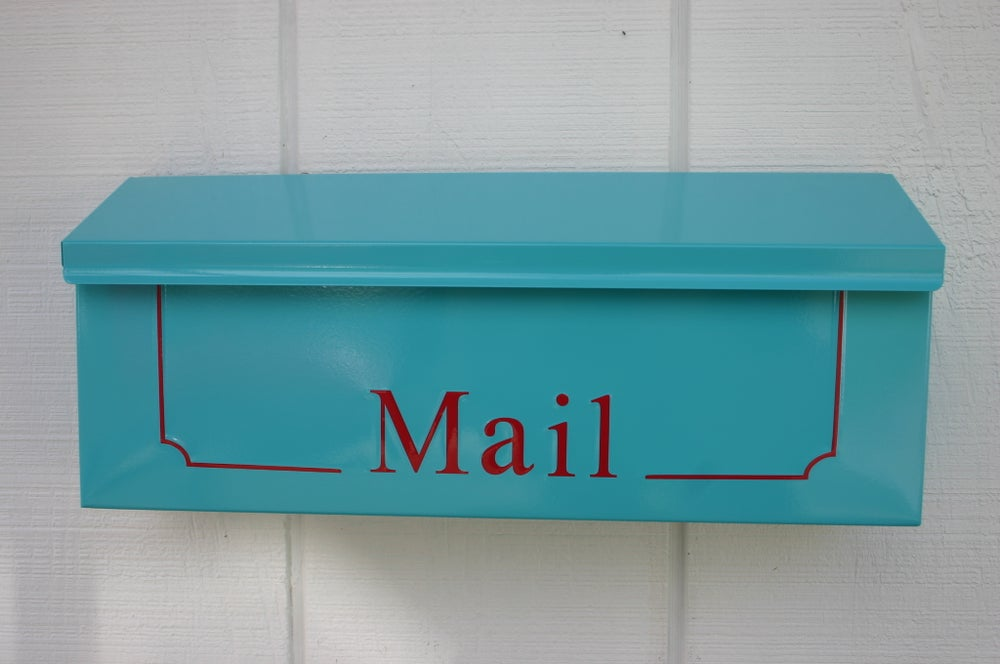 Image Of Oasis Blue Wall Mounted Mailbox By Thebusbox Similar To Tiffany