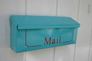 Image of Oasis Blue Wall Mounted Mailbox by TheBusBox Similar to Tiffany Blue
