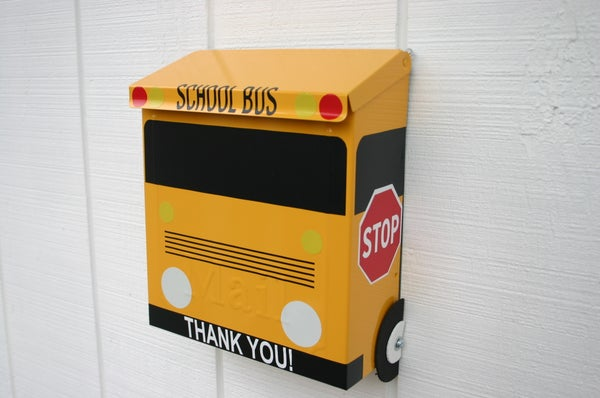 Image of School Bus Wall Mounted Mailbox by TheBusBox Locking or Non Locking Payment Box Drop Box