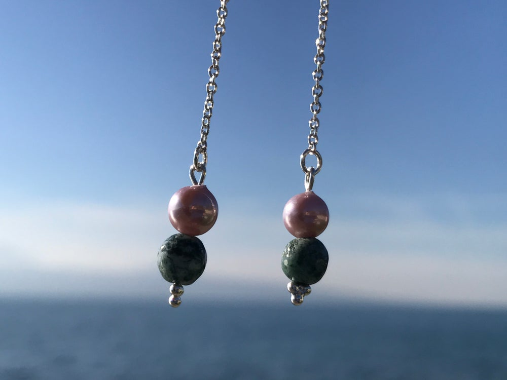 Image of Silver, pink and green moving earings