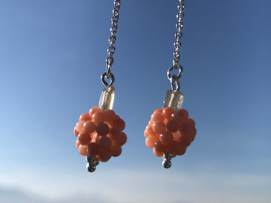 Image of Coral berry, sterling silver, citrin quartz earings