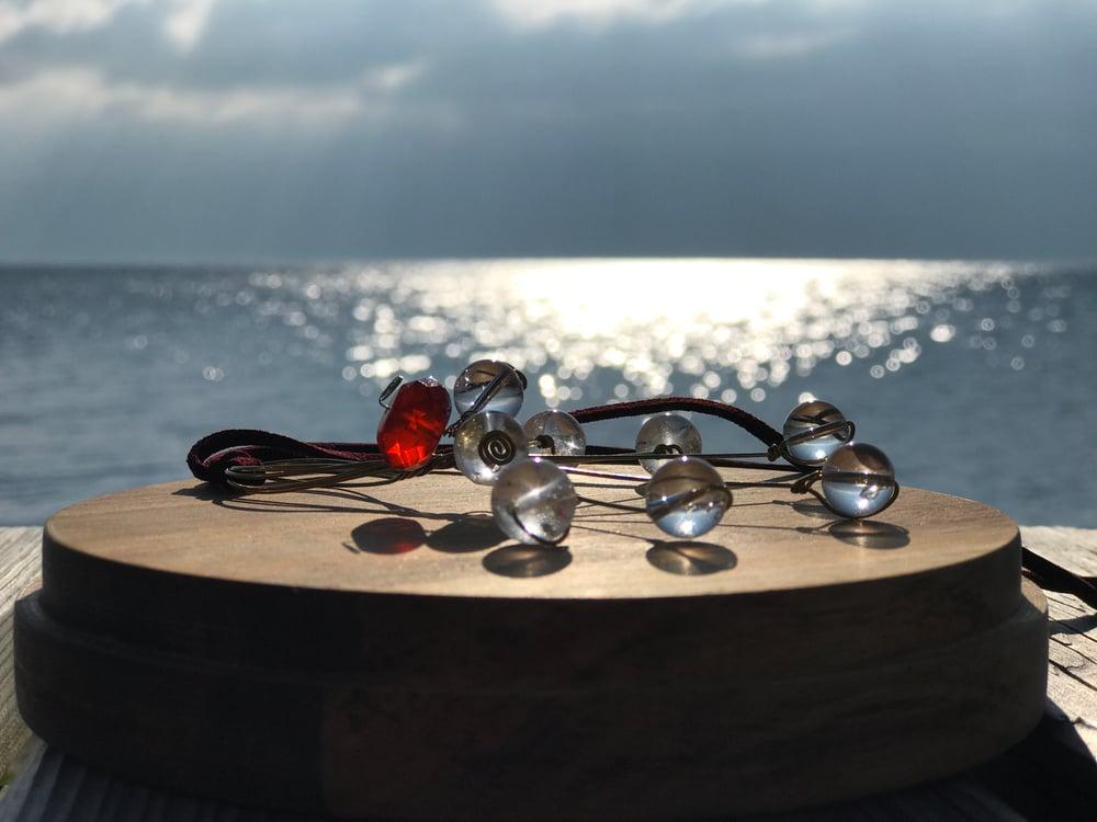 Image of Cristal quartz, agata, atom pendant