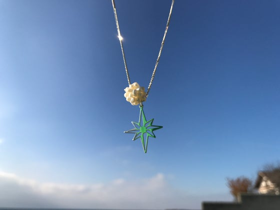 Image of Sterling silver chain, north star pendant and mini pearls snowball