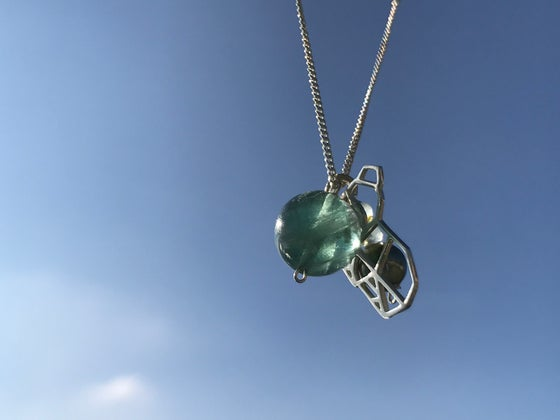 Image of Sterling silver chain and koala with fluorite, pearls and aquamarine beads