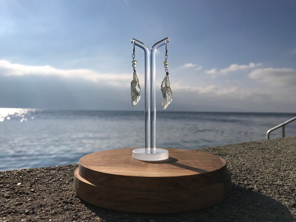 Image of Quartz and aquamarine sterling silver earings